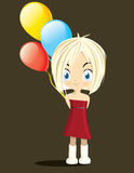 Little girl with balloons. Разрешить написание латиницей Little girl drawing vector illustration