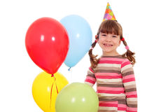 Little girl with balloons birthday party Royalty Free Stock Images