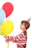 Little girl with balloons birthday party Stock Photography