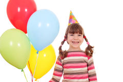 Little girl with balloons birthday party Stock Image