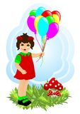 Little girl with baloons, cdr vector stock images