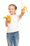 Little girl with banana Stock Photography