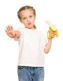 Little girl with banana Royalty Free Stock Images