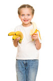 Little girl with banana Royalty Free Stock Photo