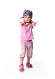 Little girl in bandana on white Royalty Free Stock Photos