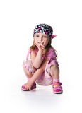 Little girl in bandana on white background Stock Photos