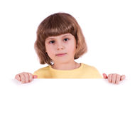 Little girl with banner Royalty Free Stock Photos