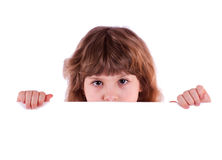 Little girl with banner Royalty Free Stock Image