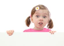 Little girl with banner Stock Photos