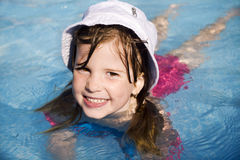 Little girl in basin Stock Photos