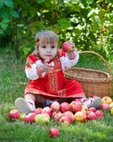 Little girl with a basket of apples Royalty Free Stock Photos
