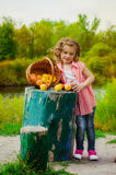 Little girl with a basket of apples  Stock Image