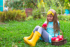 Little girl with basket of apples in autumn time Stock Photos