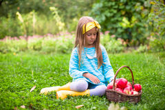 Little girl with basket of apples in sunny autumn Royalty Free Stock Photos