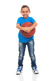 Little girl basket ball Royalty Free Stock Image