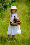 Little girl with basket at a blueberry farm Royalty Free Stock Images