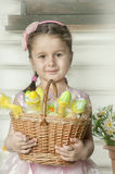 Little girl with a basket Stock Photo