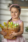 Little girl with a basket Royalty Free Stock Photography
