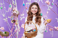 Little girl with basket eggs Easter bunny smile Royalty Free Stock Photo