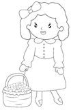 Little girl with a basket of fruits coloring page. Useful as coloring book for kids Stock Photos