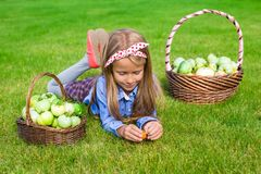 Little girl with baskets full of tomatoes Royalty Free Stock Image