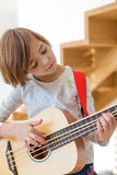 Little girl with bass Stock Photo