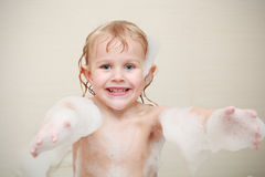 little girl in bath stock photography