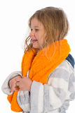 Little girl in bath robe Royalty Free Stock Photography