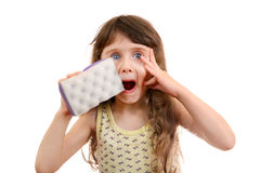 Little Girl with Bath Sponge Royalty Free Stock Images