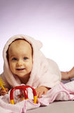 The little girl in bathrobe Stock Photography