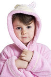 Little girl in bathrobe Stock Photo