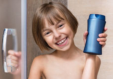 Little girl in bathroom Royalty Free Stock Images