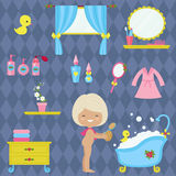 Little girl bathroom time. Stock Images