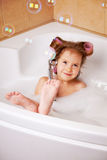 Little girl in the bathtub Royalty Free Stock Photo