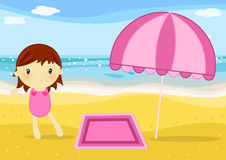 Little girl on the beach. Illustration about a cute little girl with towel and umbrella on the beach at seaside Royalty Free Stock Photos