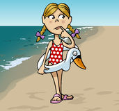 Little girl at the beach. Cartoon-style illustration: a little cute blonde girl with a swan-shaped lifebuoy at the beach Stock Image