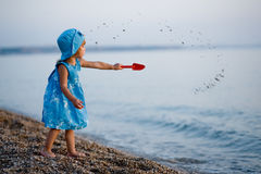 Little girl at beach Royalty Free Stock Photos