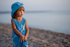 Little girl at beach Stock Image
