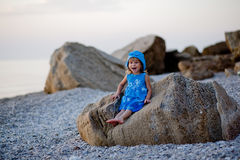 Little girl at beach Stock Photo
