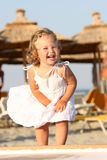 Little girl at beach. Beauty a little girl at beach in the sea Royalty Free Stock Images