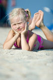 Little girl on the beach Royalty Free Stock Photos