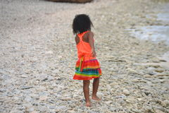Little girl at the beach. At the beach stock photo