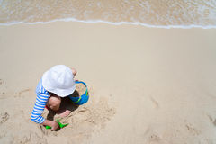 Little girl at beach Stock Photo