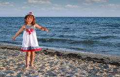 Little girl on beach Royalty Free Stock Images