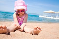 Little girl on beach Royalty Free Stock Image