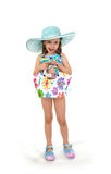 Little girl in a beach dress. Royalty Free Stock Photography