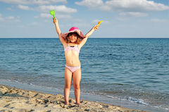 Little girl on beach Royalty Free Stock Photos