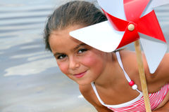 Little girl at the beach royalty free stock image