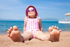 Little girl on beach Stock Photography