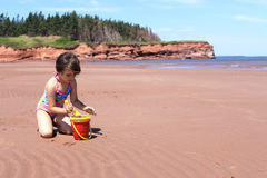 Little girl at the beach in P.E.I Stock Photos